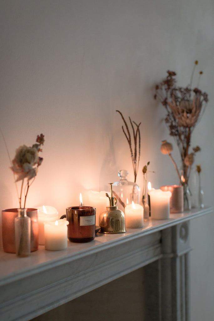 marble fireplace candles