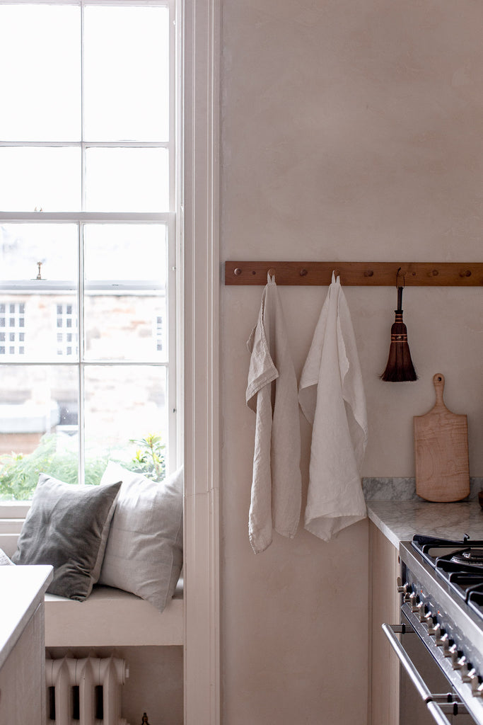 handmade white and cream linen kitchen towels