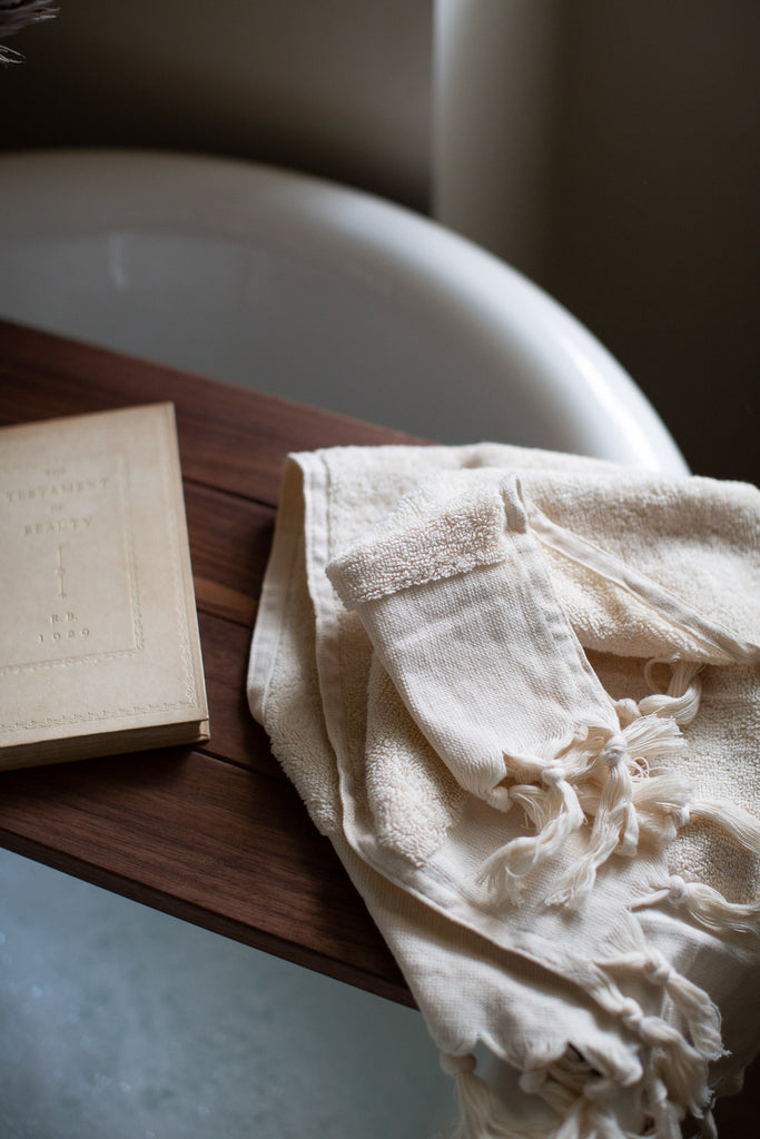 handwoven organic cotton towels in unbleached cotton