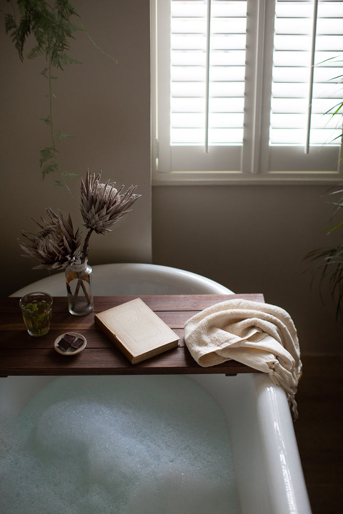 bathroom with soft natural towels