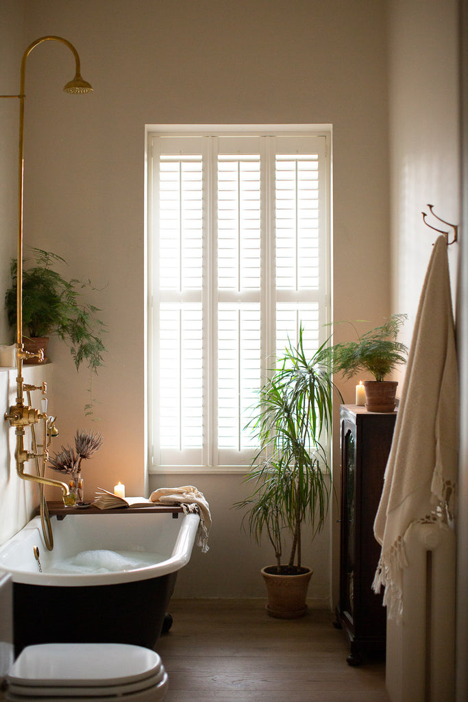 natural bathroom with plants and claw foot bath