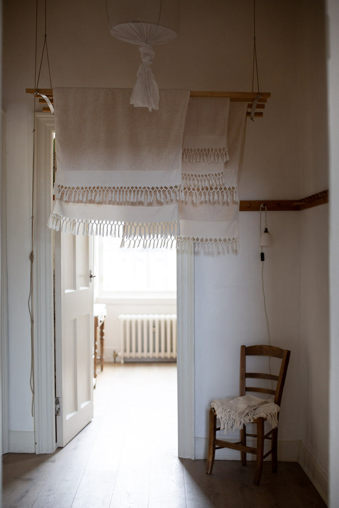handwoven organic cotton towels with tassels
