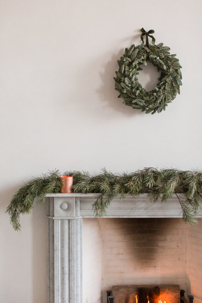 simple natural winter Christmas decorations in green and copper