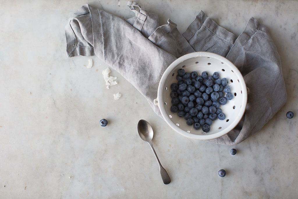 INGREDIENTS LDN handmade berry colander and linen napkin