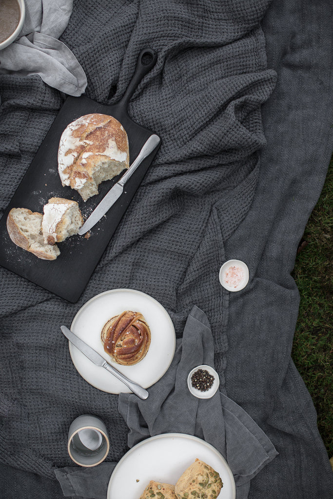 Outdoor autumn  picnic with blankets and mushroom soup