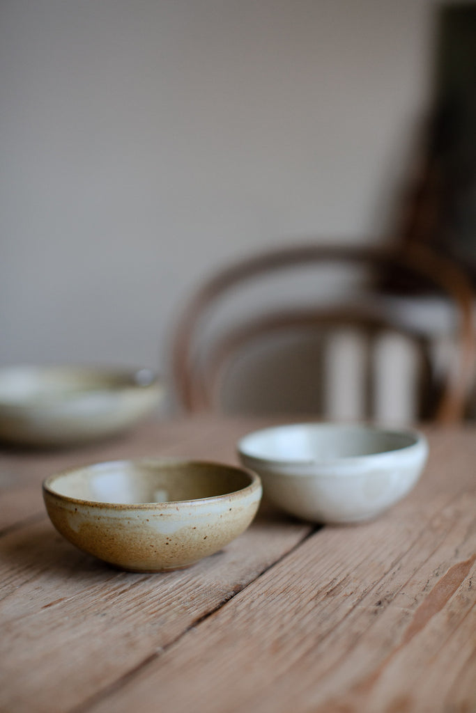 handmade ceramic bowls in organic colours