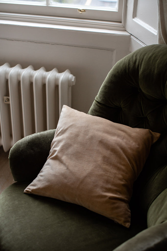 nude colour velvet cushion cover