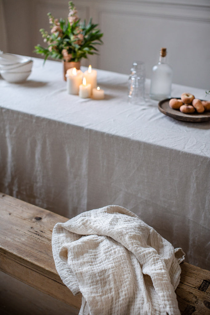 handmade linen in warm muted colours