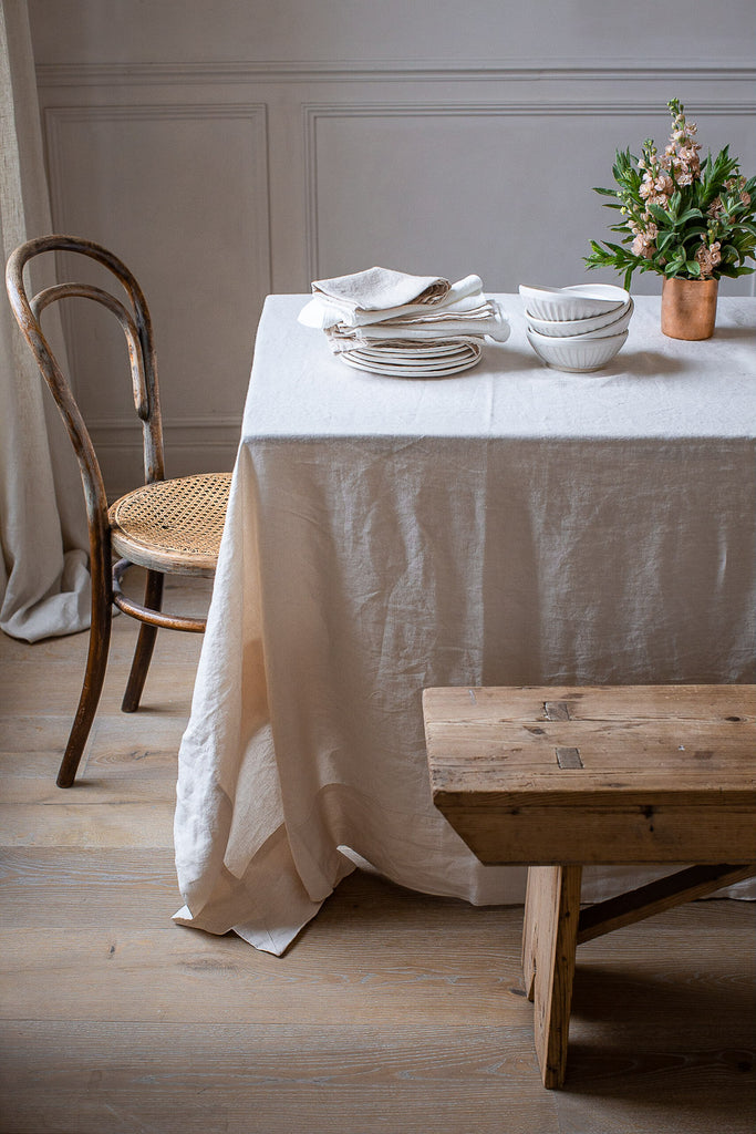 handmade warm cream linen tablecloth with thick boarder