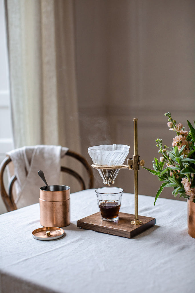 beautiful brass clerk coffee pour over lab chemistry stand