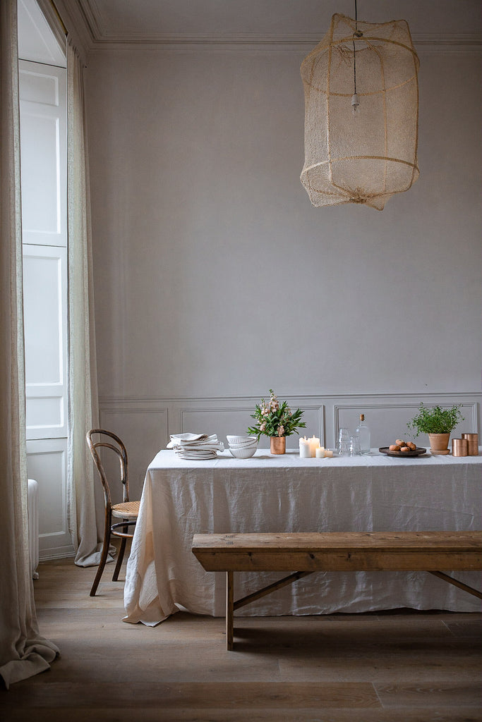 natural breakfast table styling with linen wood and pale colours