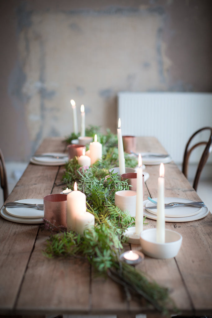 INGREDIENTS LDN leaves and copper tablescape