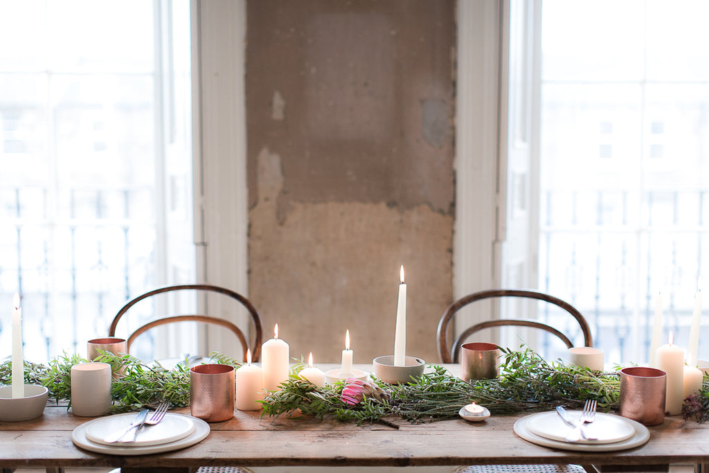 INGREDIENTS LDN green leaves and copper tablescape