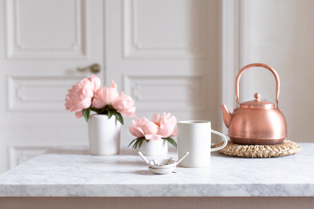 marble pink peonies and copper