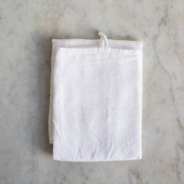 EX-PROP HANDMADE WAFFLE LINEN KITCHEN TOWEL IN OFF-WHITE