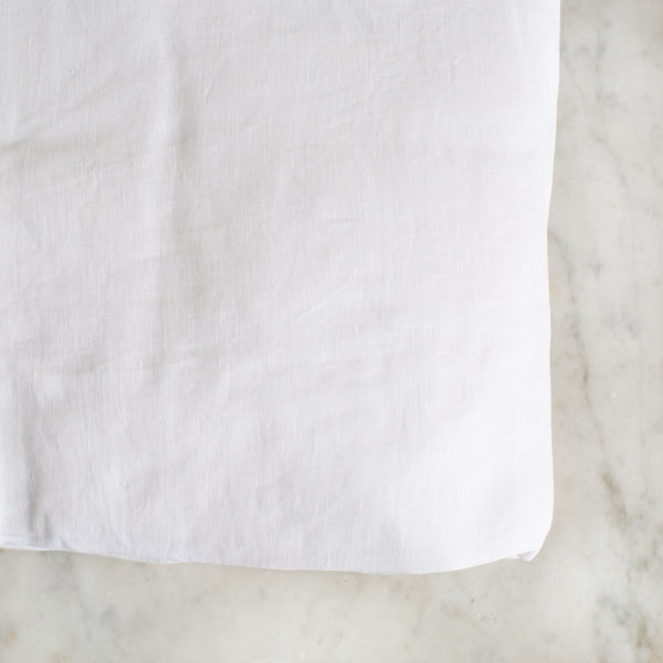BELGIAN LINEN FITTED SHEETS IN PURE WHITE