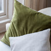 Hand dyed velvet and linen cushion covers
