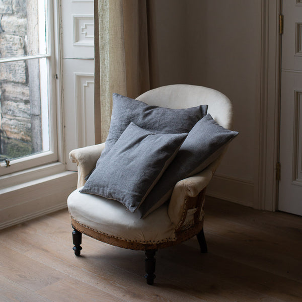 HAND DYED VINTAGE LINEN CUSHION COVERS IN JUPITER AS FOG
