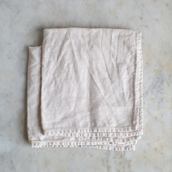 HANDMADE HEAVY LINEN NAPKIN SET IN WARM WHITE