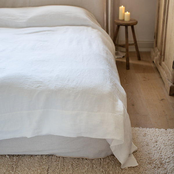 HANDMADE LINEN TOP SHEET IN OFF-WHITE