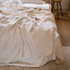 HANDMADE CRUSHED LINEN BLANKET IN WARM WHITE