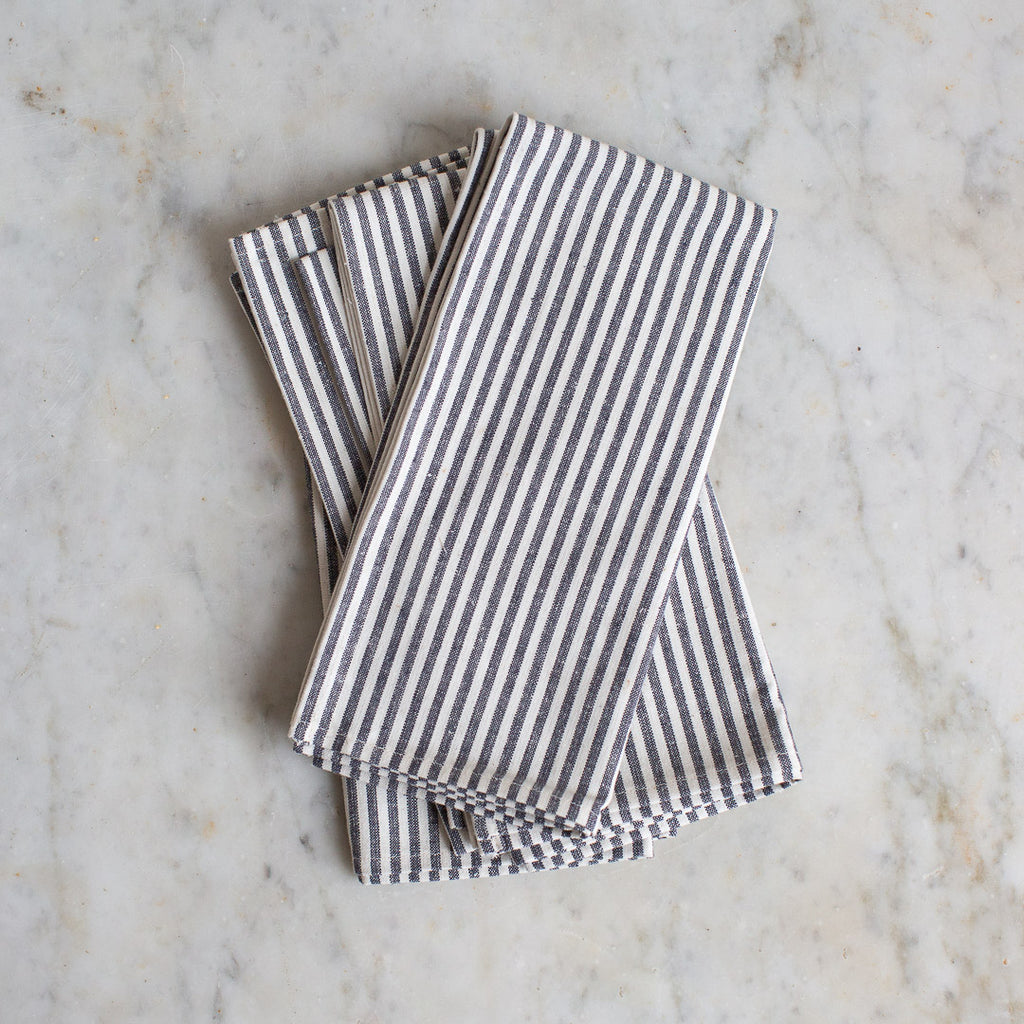 organic cotton and hemp napkin set in ticking