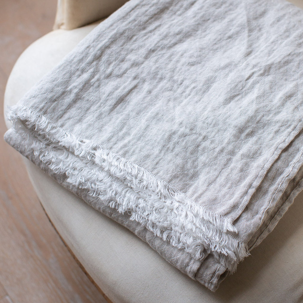 HANDMADE CRUSHED LINEN BLANKET IN NATURAL