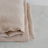 Belgian linen throw blanket in raw umber