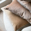 pale orange and pale pink hand dyed velvet cushion covers