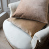 handmade linen backed sand coloured velvet cushions