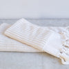 striped organic cotton towel in ecru
