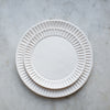 handmade stoneware fluted dinner plate in matte white glaze
