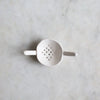 Handmade ceramic tea strainer matte white UK