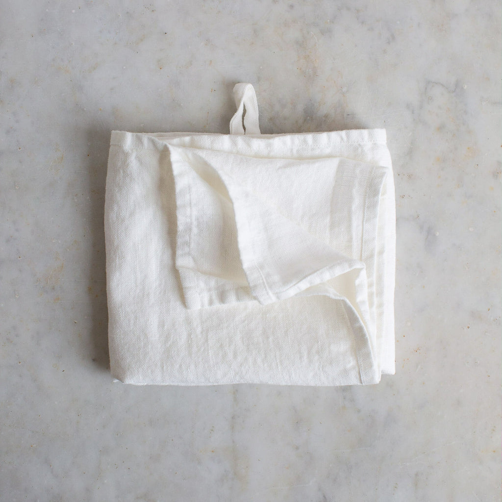HANDMADE LINEN KITCHEN TOWEL IN OFF-WHITE