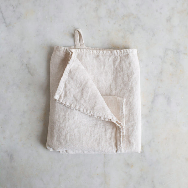 HANDMADE LINEN KITCHEN TOWEL IN WARM WHITE