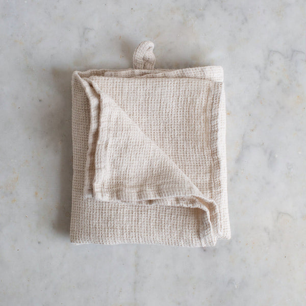 HANDMADE WAFFLE LINEN KITCHEN TOWEL IN WARM WHITE