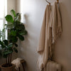 HANDWOVEN ORGANIC COTTON STRIPED TOWELS IN ECRU