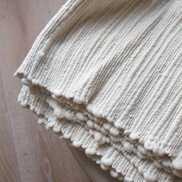 TEXTURED HANDWOVEN MERINO WOOL BLANKET