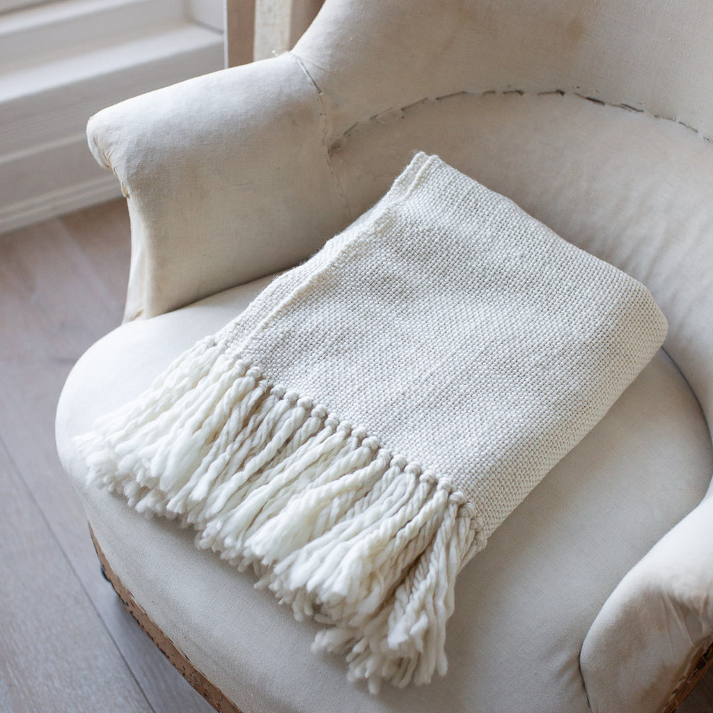Handwoven Merino Wool Blanket with tassels