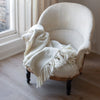 Handwoven Cream Merino Wool Blanket