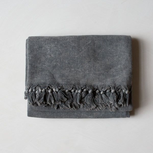HAND-LOOMED COTTON BLANKET IN CHARCOAL