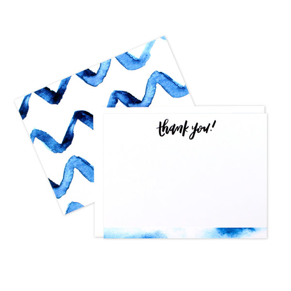 Indigo Thanks Flat Notecards