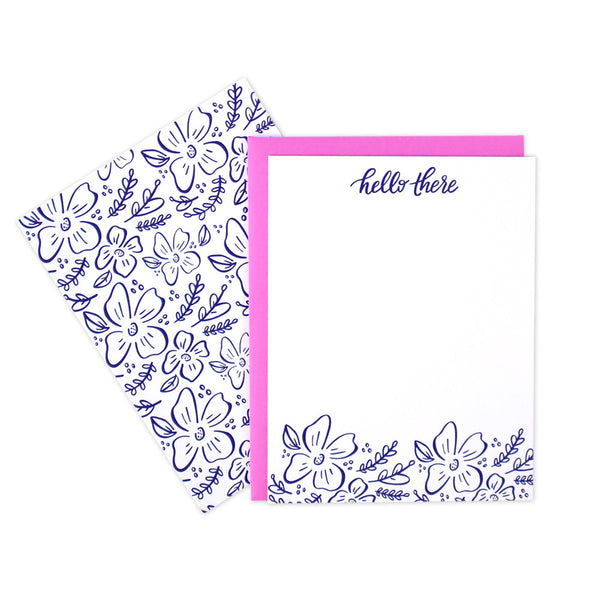 Floral Hello Flat Notecards