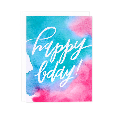 Bright Watercolor Bday Card