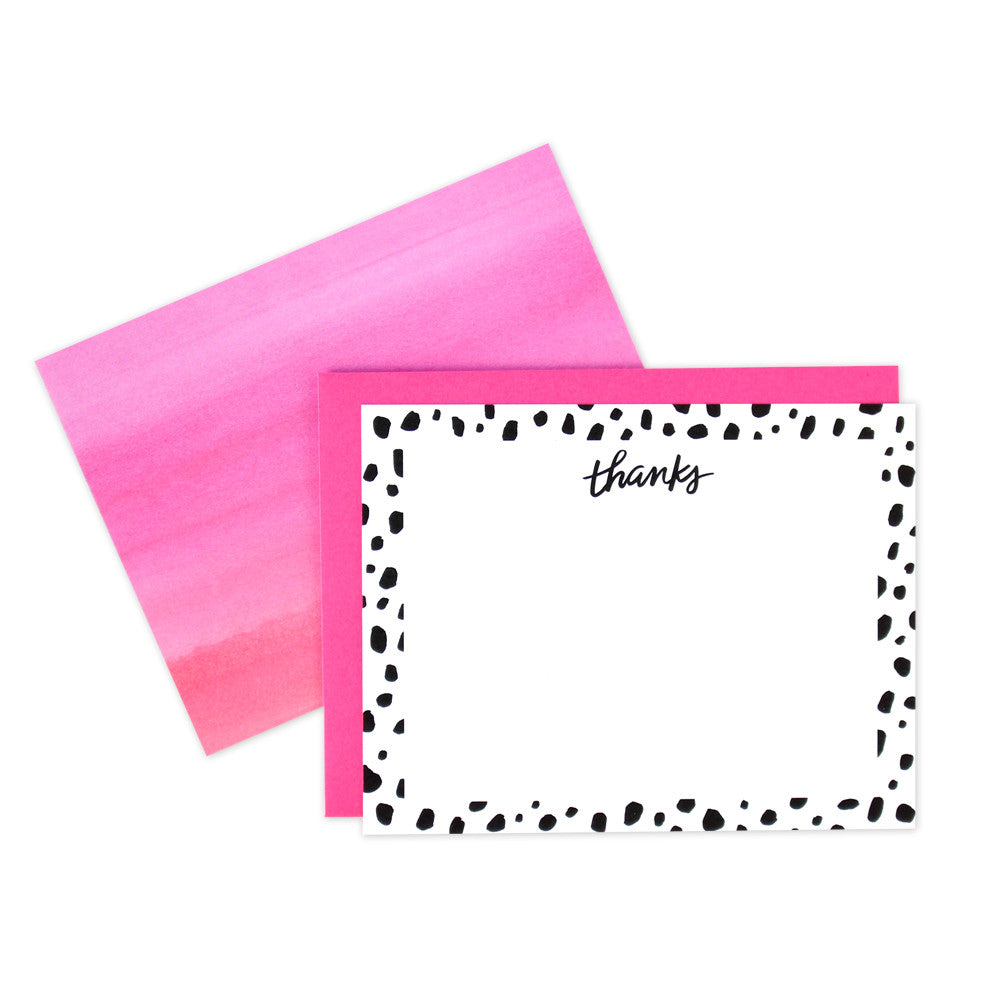 Polka Dot Thanks Flat Notecards