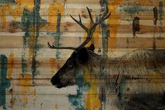 Teal Yellow Reindeer