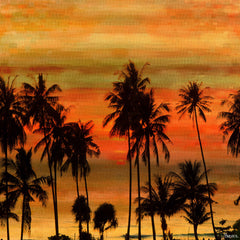 Palms Against Gold Sky
