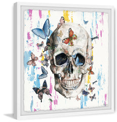 Colorful Happy Butterfly Skull