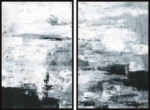 Black and White Smudges Diptych