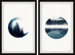 Forest Mountain Reflection Diptych